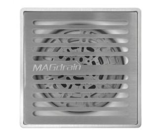 Трап для душа MAGdrain PFC35Q50-B (100x100x7мм, хром матовый,  нержавеющая сталь)